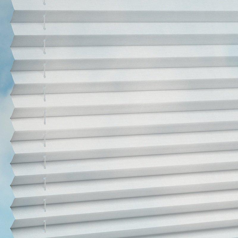 Jaloustore Transparentes Plissee auf Maß in matter Baumwoll-Optik Creme-Weiß - Bild 2