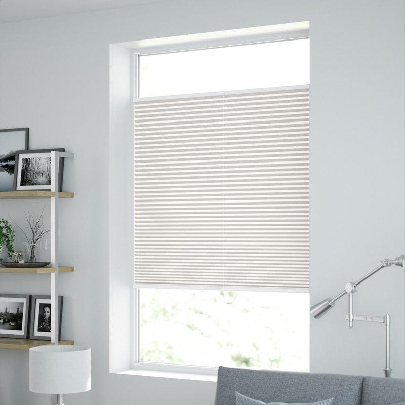 Jaloustore Transparentes Plissee auf Maß in matter Baumwoll-Optik Creme-Weiß - Bild 1