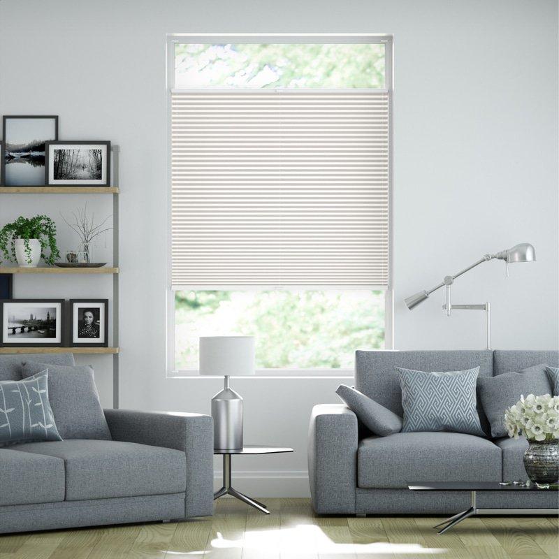 Jaloustore Transparentes Plissee auf Maß in matter Baumwoll-Optik Creme-Weiß - Bild 0