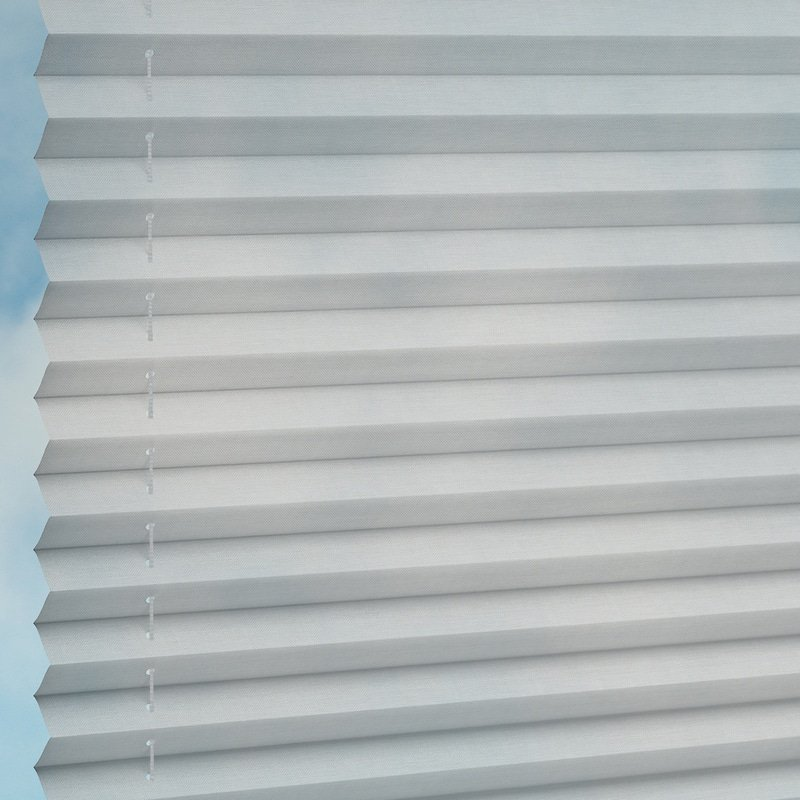 Jaloustore Transparentes Plissee auf Maß in matter Baumwoll-Optik Silbergrau - Bild 1