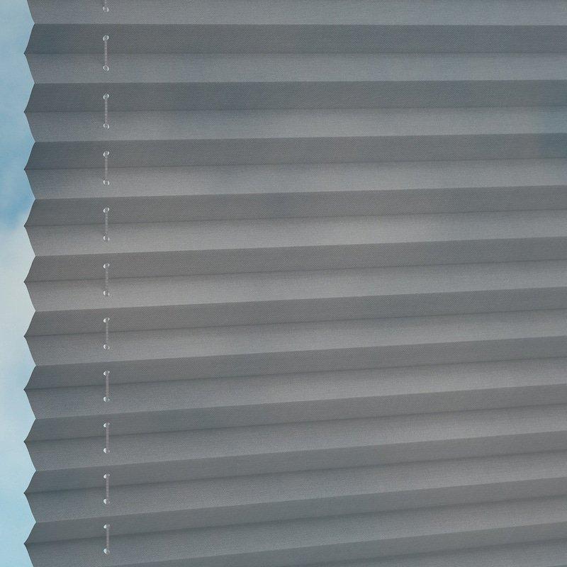 Jaloustore Transparentes Plissee auf Maß in matter Baumwoll-Optik Anthrazit - Bild 1