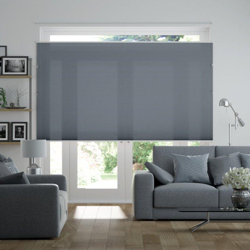 Jaloustore Halbtransparentes Plissee auf Maß in matter, feiner Baumwoll-Optik Jeansblau - Bild 0