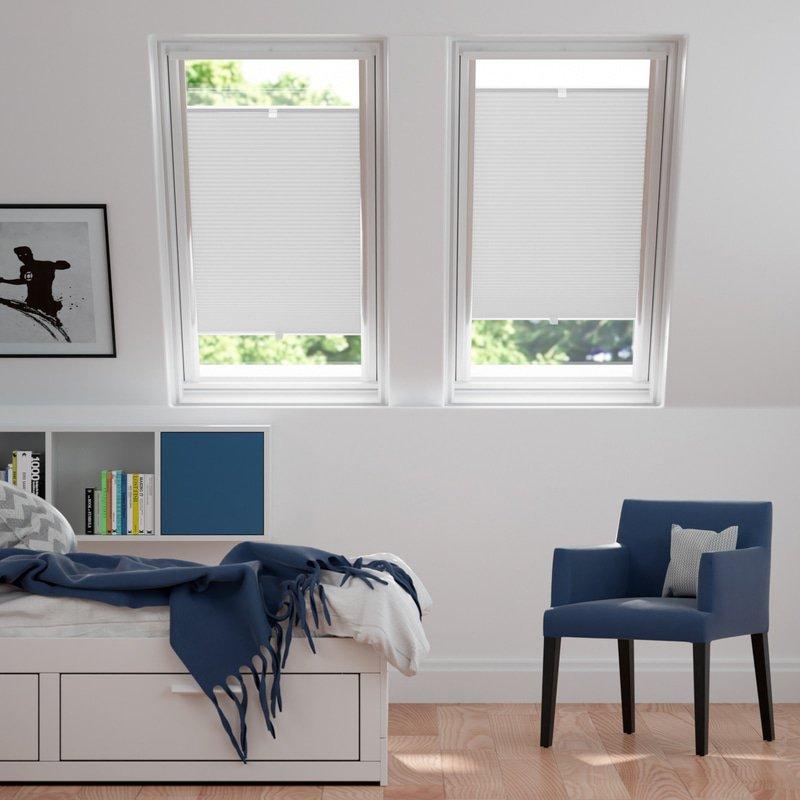 Jaloustore Blickdichtes Wabenplissee auf Maß mit leichter Struktur, Rückseite weiß Weiß - Bild 1