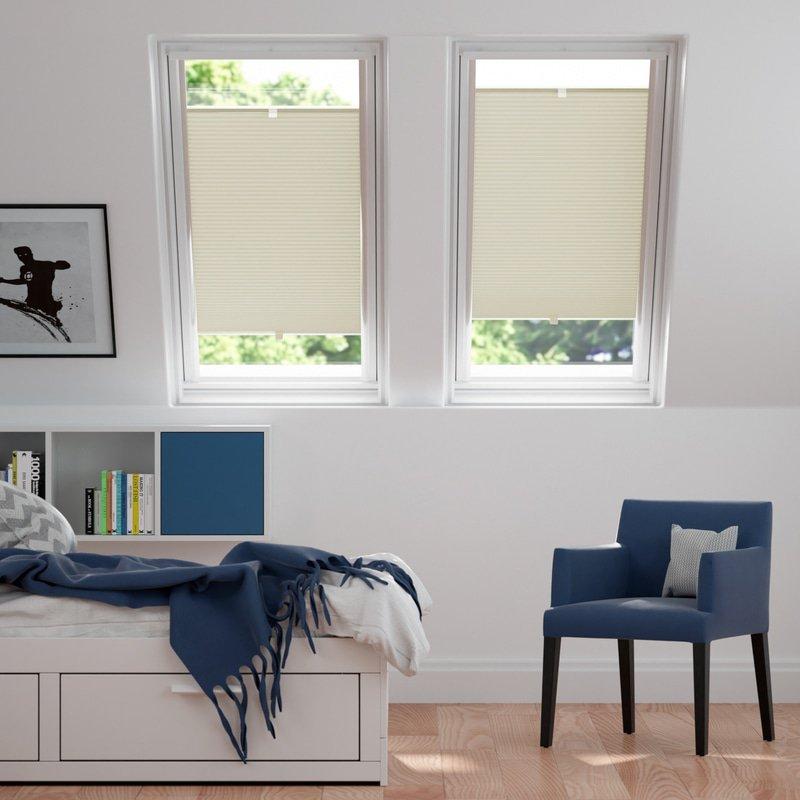 Jaloustore Blickdichtes Wabenplissee auf Maß mit leichter Struktur, Rückseite weiß Creme-Weiß - Bild 1