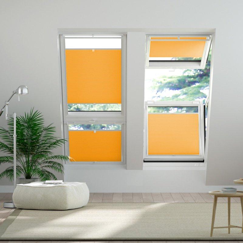 Jaloustore Blickdichtes Wabenplissee auf Maß mit leichter Struktur, Rückseite weiß Orange - Bild 1