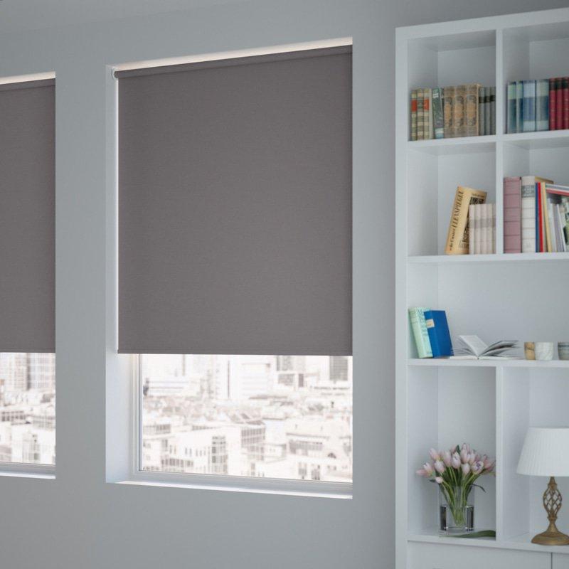 Jaloustore Blickdichtes Rollo auf Maß in matter Leinwand-Struktur, Rückseite farbig angepasst Grau - Bild 1