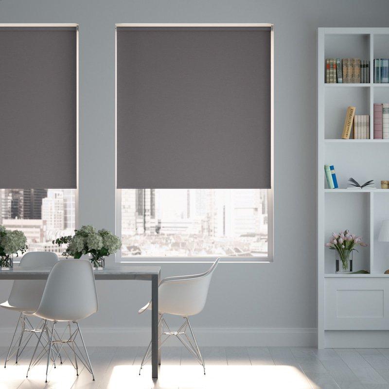 Jaloustore Blickdichtes Rollo auf Maß in matter Leinwand-Struktur, Rückseite farbig angepasst Grau - Bild 0