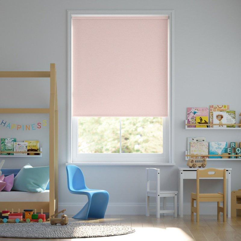 Jaloustore Blickdichtes Rollo auf Maß in matter Leinwand-Struktur, Rückseite farbig angepasst Rosé - Bild 0