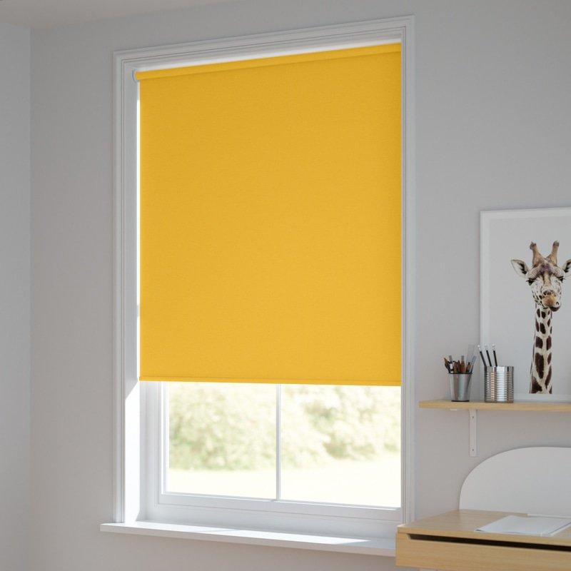 Jaloustore Blickdichtes Rollo auf Maß in matter Leinwand-Struktur, Rückseite farbig angepasst Sonnengelb - Bild 1