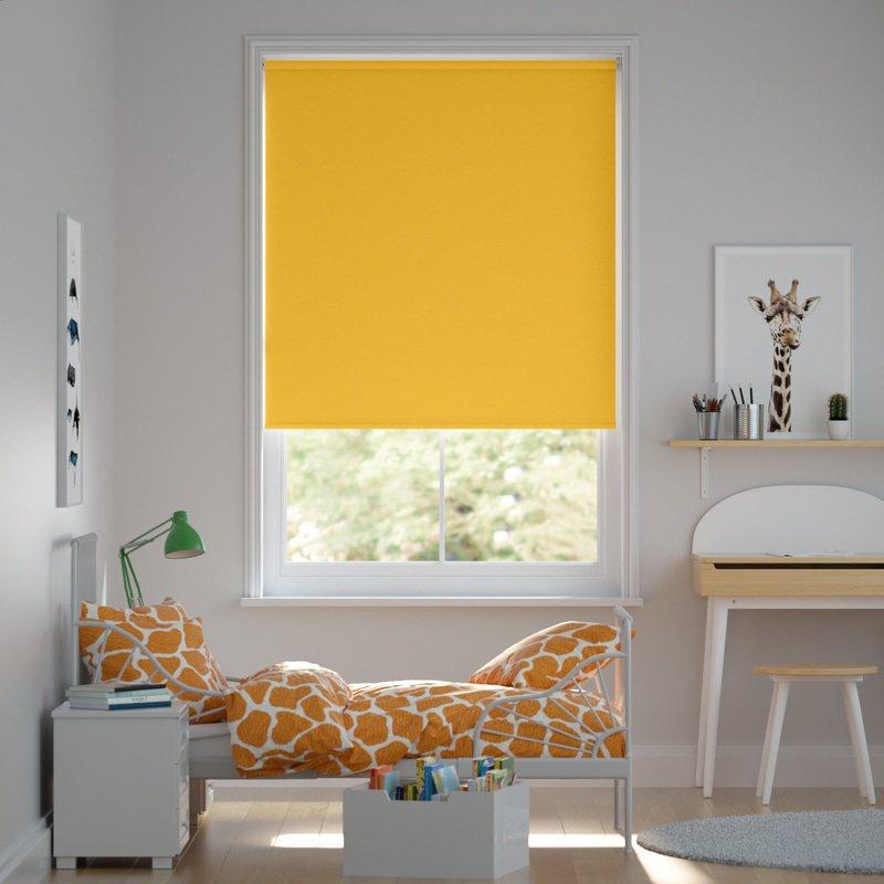 Jaloustore Blickdichtes Rollo auf Maß in matter Leinwand-Struktur, Rückseite farbig angepasst Sonnengelb - Bild 0