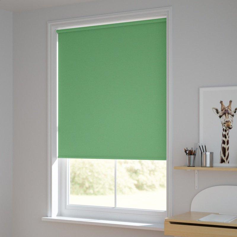 Jaloustore Blickdichtes Rollo auf Maß in matter Leinwand-Struktur, Rückseite farbig angepasst Grasgrün - Bild 1