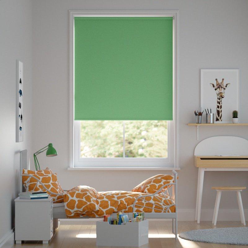 Jaloustore Blickdichtes Rollo auf Maß in matter Leinwand-Struktur, Rückseite farbig angepasst Grasgrün - Bild 0