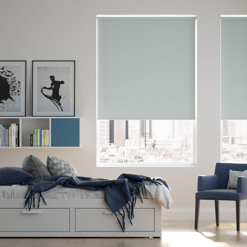 Jaloustore Blickdichtes Rollo auf Maß in matter Leinwand-Struktur, Rückseite farbig angepasst Pastell-Blau - Bild 0