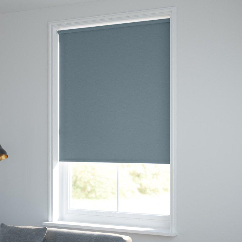 Jaloustore Blickdichtes Rollo auf Maß in matter Leinwand-Struktur, Rückseite farbig angepasst Graublau - Bild 1