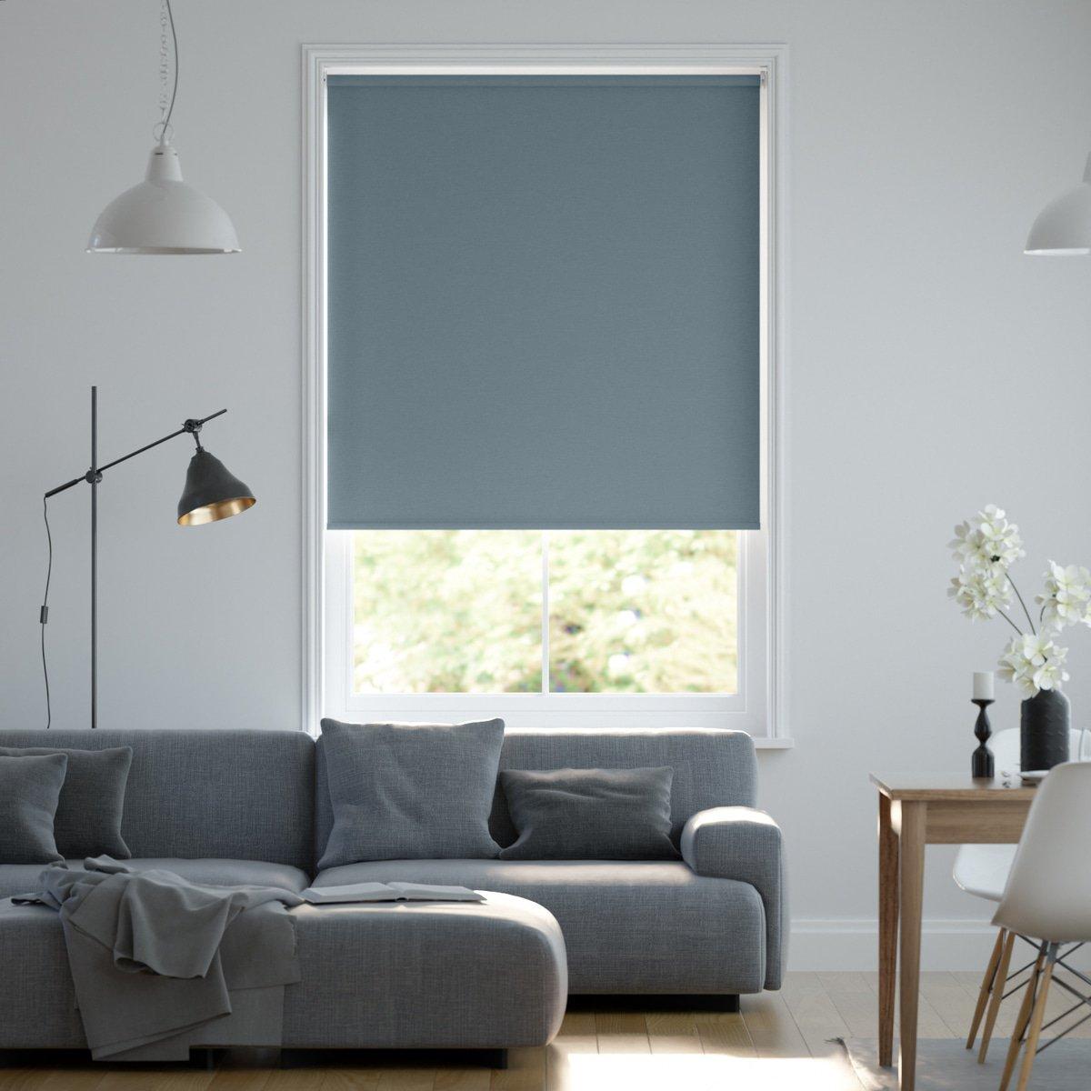 Wand Graublau: Blickdichtes Rollo Auf Maß In Matter Leinwand-Struktur