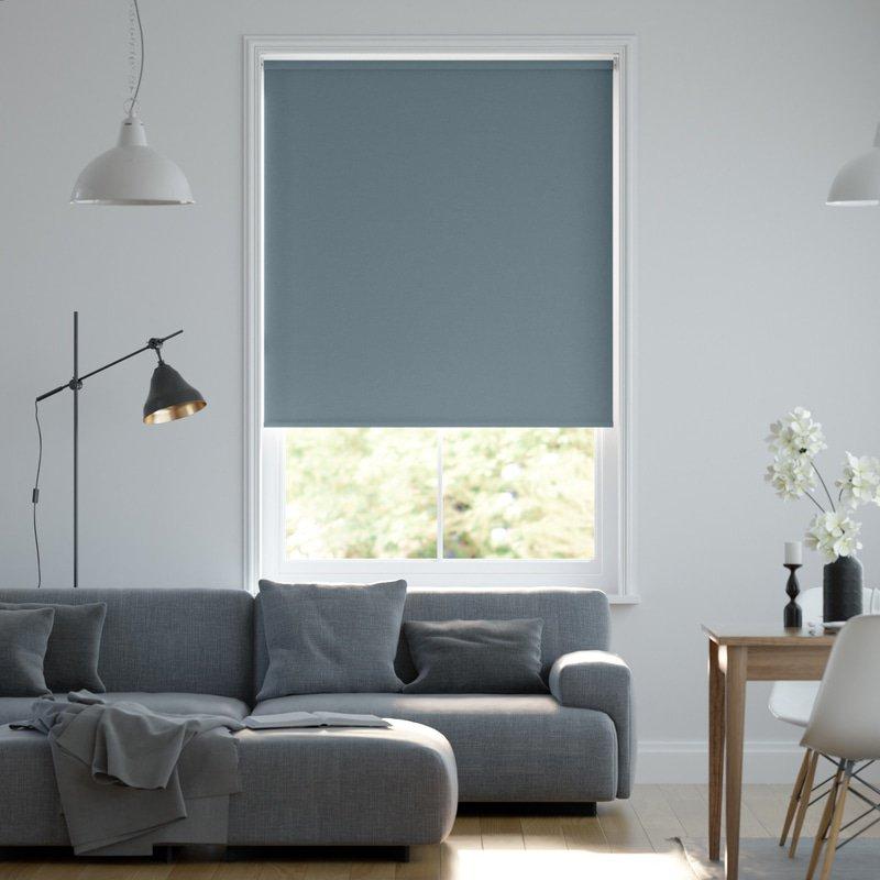 Jaloustore Blickdichtes Rollo auf Maß in matter Leinwand-Struktur, Rückseite farbig angepasst Graublau - Bild 0