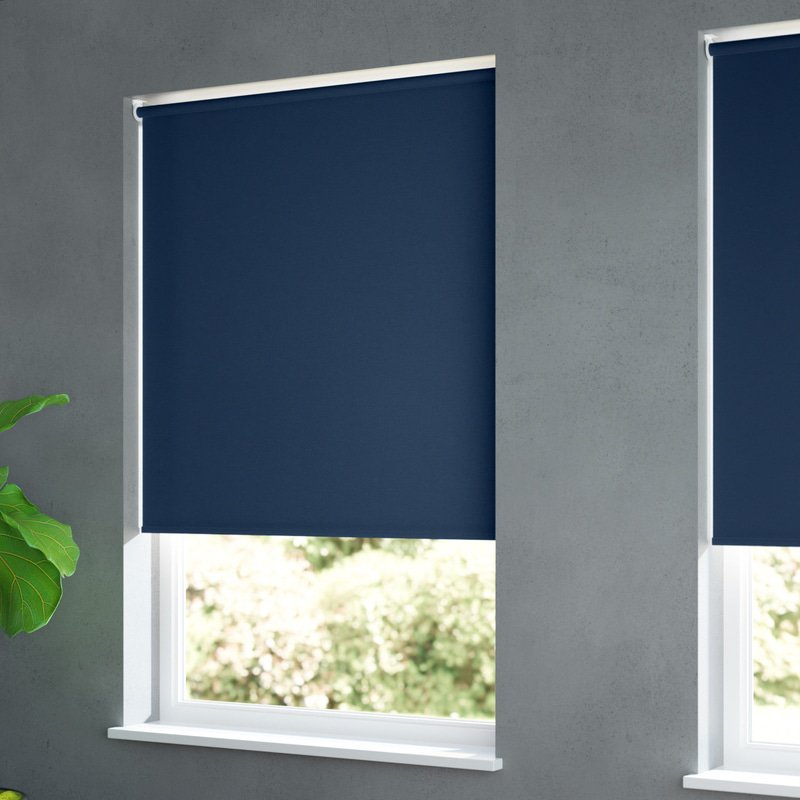 Jaloustore Blickdichtes Rollo auf Maß in matter Leinwand-Struktur, Rückseite farbig angepasst Navyblau - Bild 1