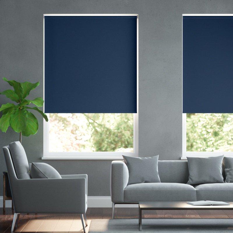 Jaloustore Blickdichtes Rollo auf Maß in matter Leinwand-Struktur, Rückseite farbig angepasst Navyblau - Bild 0