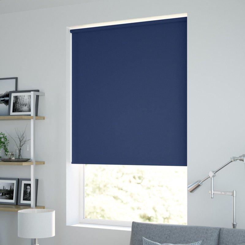 Jaloustore Blickdichtes Rollo auf Maß in matter Leinwand-Struktur, Rückseite farbig angepasst Enzianblau - Bild 1