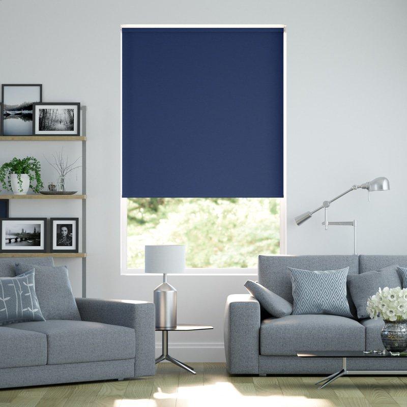 Jaloustore Blickdichtes Rollo auf Maß in matter Leinwand-Struktur, Rückseite farbig angepasst Enzianblau - Bild 0