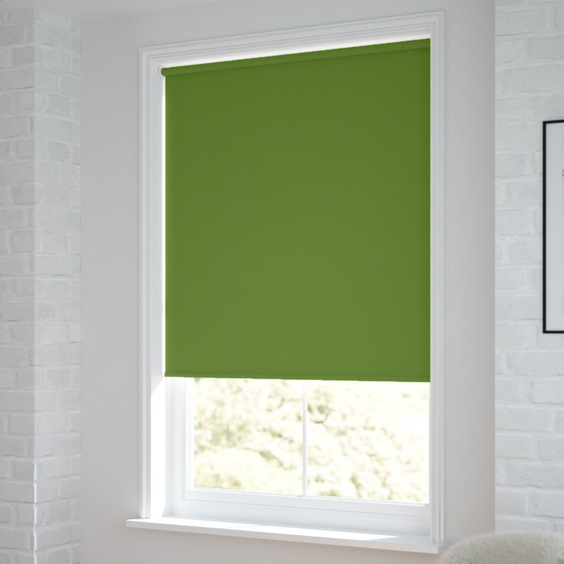 Jaloustore Verdunkelungsrollo auf Maß in matter Leinwand-Optik, Rückseite weiß Grün - Bild 1