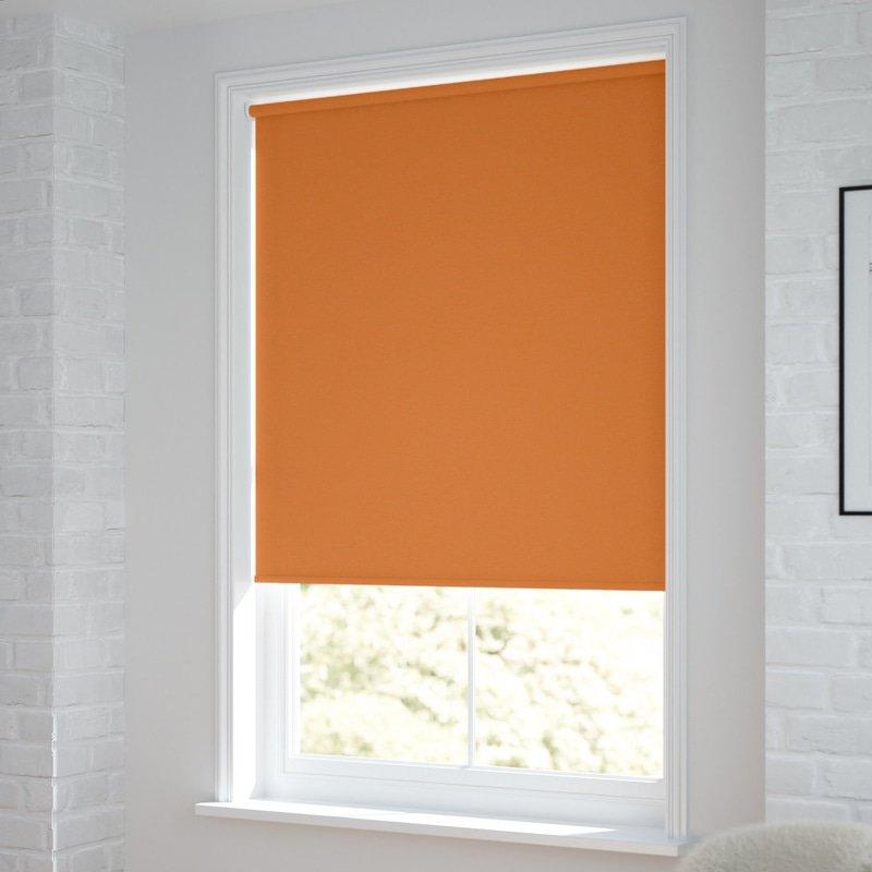 Jaloustore Verdunkelungsrollo auf Maß in matter Leinwand-Optik, Rückseite farbig angepasst Orange - Bild 1