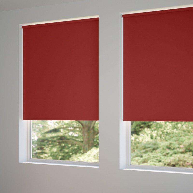 Jaloustore Verdunkelungsrollo auf Maß in matter Leinwand-Optik, Rückseite farbig angepasst Rot - Bild 1