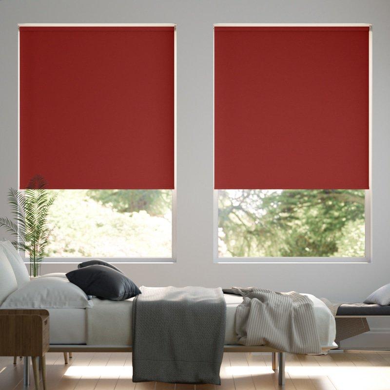 Jaloustore Verdunkelungsrollo auf Maß in matter Leinwand-Optik, Rückseite farbig angepasst Rot - Bild 0
