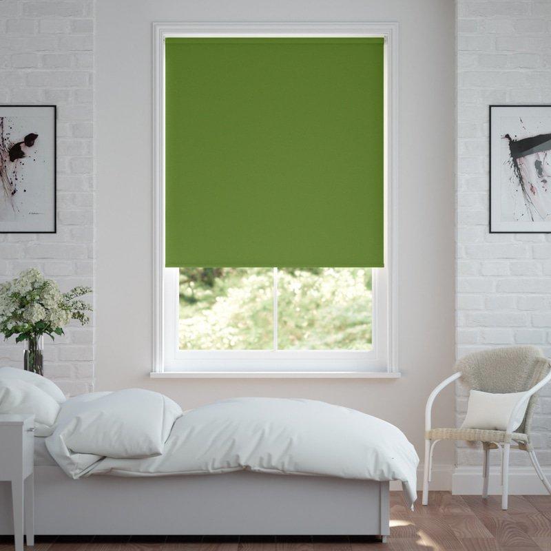 Jaloustore Verdunkelungsrollo auf Maß in matter Leinwand-Optik, Rückseite farbig angepasst Grün - Bild 0