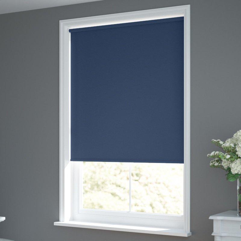 Jaloustore Verdunkelungsrollo auf Maß in matter Leinwand-Optik, Rückseite farbig angepasst Jeansblau - Bild 1