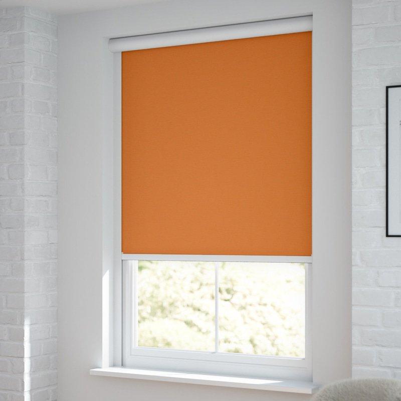 Jaloustore Verdunkelungsrollo auf Maß in matter Leinwand-Optik, Rückseite weiß Orange - Bild 1