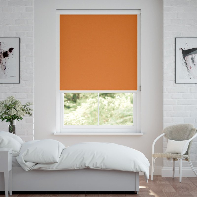 Jaloustore Verdunkelungsrollo auf Maß in matter Leinwand-Optik, Rückseite weiß Orange - Bild 0