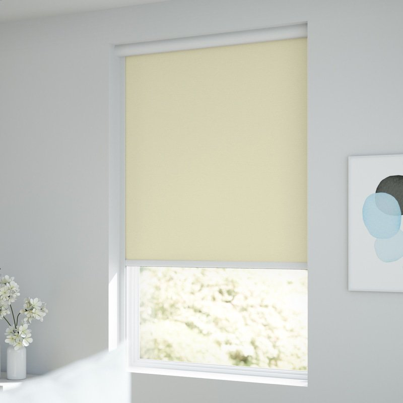Jaloustore Verdunkelungsrollo auf Maß in matter Leinwand-Optik, Rückseite farbig angepasst Creme-Weiß - Bild 1