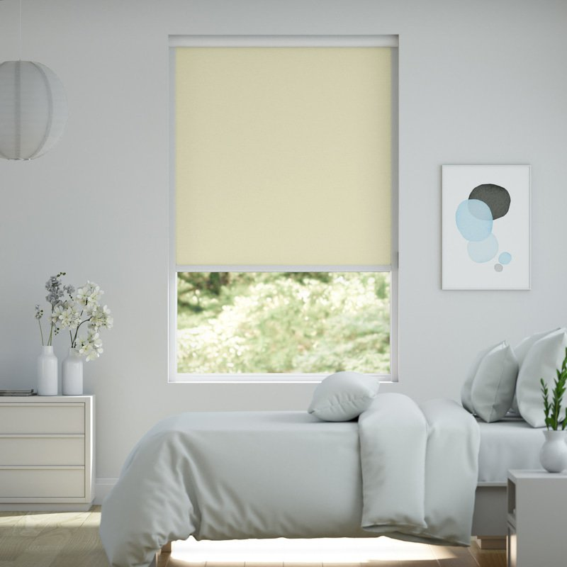 Jaloustore Verdunkelungsrollo auf Maß in matter Leinwand-Optik, Rückseite farbig angepasst Creme-Weiß - Bild 0