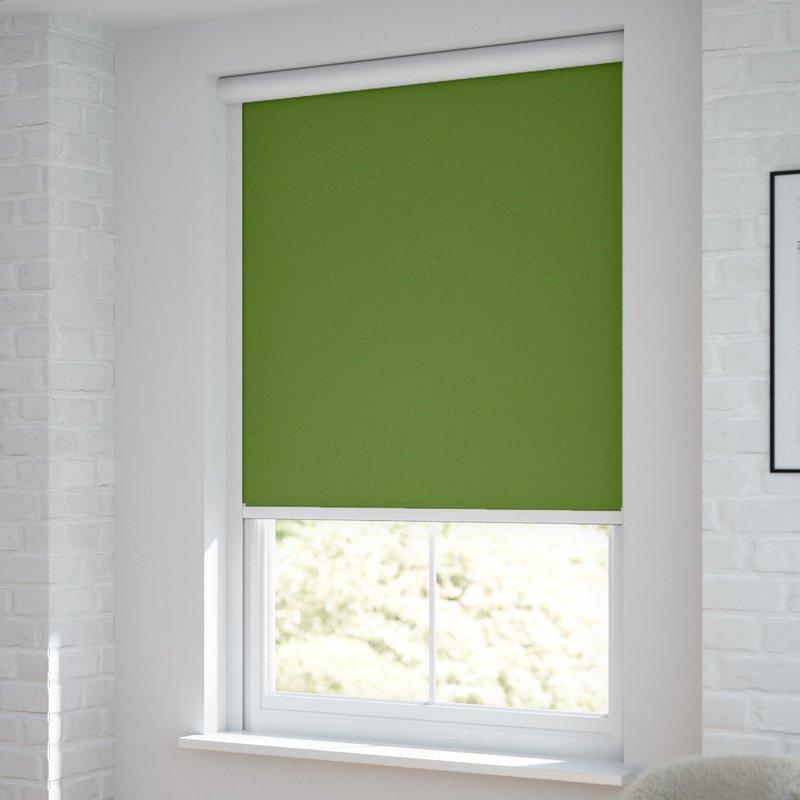 Jaloustore Verdunkelungsrollo auf Maß in matter Leinwand-Optik, Rückseite farbig angepasst Grün - Bild 1