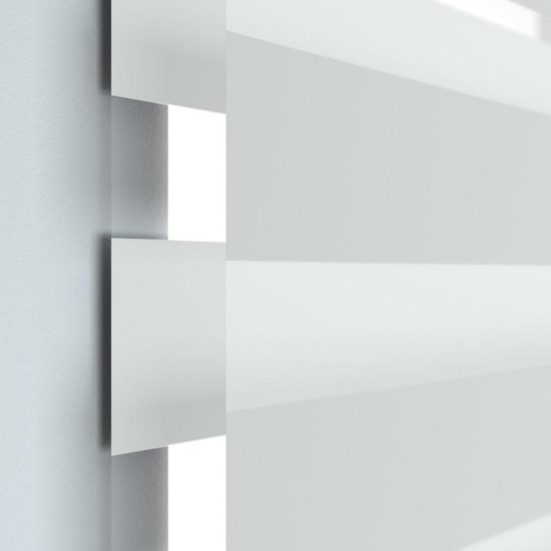 Jaloustore Doppelrollo auf Maß mit Uni-Blockstreifen in Verdunkelungsqualität Silber-Grau - Bild 1