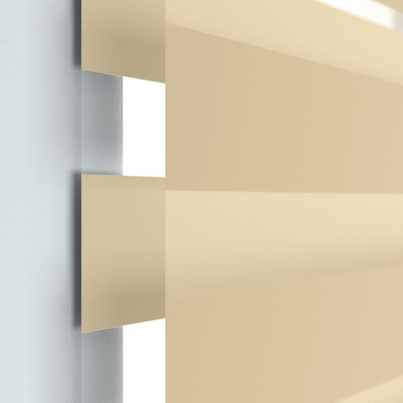 Jaloustore Doppelrollo auf Maß mit Uni-Blockstreifen in Verdunkelungsqualität Beige - Bild 1